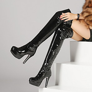 cheap Women's Boots-Women's Boots Over-The-Knee Boots Stiletto Heel Round Toe Leather Over The Knee Boots Winter Black / Red