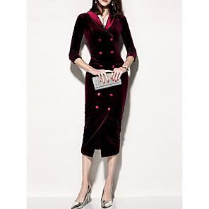 cheap Historical & Vintage Costumes-Women's Bodycon Dress - 3/4 Length Sleeve Solid Colored V Neck Elegant Slim Purple Red Green S M L XL XXL XXXL XXXXL XXXXXL XXXXXXL