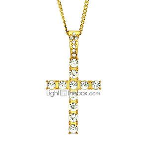cheap Pendant Necklaces-Men's Women's Pendant Necklace Chain Necklace Geometrical Cross Unique Design Fashion Hip-Hop Zircon Gold Plated Gold Silver 60 cm Necklace Jewelry 1pc For Street / Long Necklace
