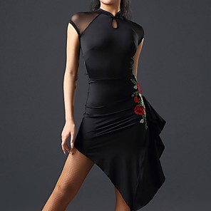 cheap Latin Dancewear-Latin Dance Dress Ruffles Embroidery Women's Performance Polyester