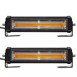 cheap Warning Lights-2pcs COB LED Car Front Grille Flashing Lights Emergency Warning Strobe Lamp Bars Amber with Remote