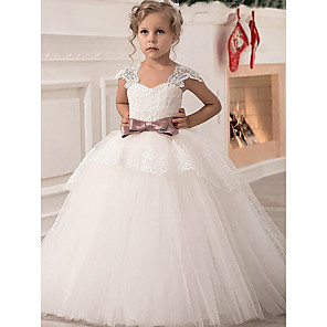 cheap Movie & TV Theme Costumes-Princess Point Floor Length Lace / Satin / Tulle Junior Bridesmaid Dress with Lace / Sash / Ribbon