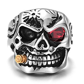 cheap Pendant Necklaces-Men's Ring 1pc Silver Alloy irregular Vintage Trendy Ethnic Daily Jewelry Vintage Style Skull