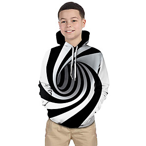 cheap Women's Boots-Kids Toddler Boys' Active Basic Black & White Fantastic Beasts Striped Geometric 3D Print Long Sleeve Hoodie & Sweatshirt White