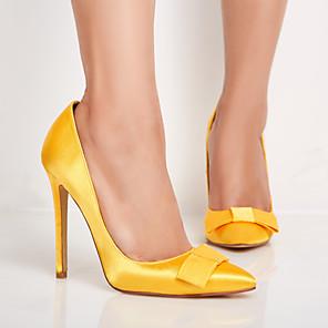זול נעלי עקב לנשים-בגדי ריקוד נשים עקבים עקב סטילטו בוהן מחודדת פפיון סטן קיץ & אביב צהוב