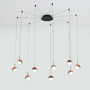 cheap Indoor Wall Lights-9-Light Modern Chandelier 9 Lights Hanging Lamp Dropping Pendant Ceiling Fixture Led Integrated Bulbs Included for Kichten Dinning Living Office Cafe Room