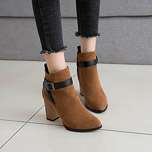cheap Women's Boots-Women's Boots Spring &  Fall / Fall & Winter Chunky Heel Pointed Toe Casual Minimalism Daily Office & Career Buckle Color Block Suede Booties / Ankle Boots Black / Brown / Gray