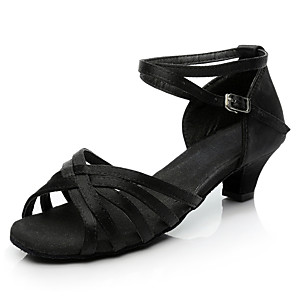 cheap Latin Shoes-Women's Dance Shoes Satin Latin Shoes / Salsa Shoes Buckle Heel Thick Heel Customizable Black