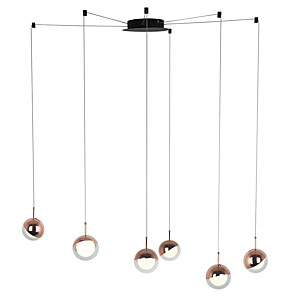 cheap Cluster Design-6-Light Modern Chandelier 6 Lights Hanging Lamp Dropping Pendant Ceiling Fixture Led Integrated Bulbs Included for Kichten Dinning Living Office Cafe Room