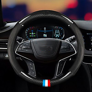 halpa Ohjauspyörän suojukset-auton hiilikuitu ohjauspyörän suojus rajat ylittävien autojen tarvikkeet erityinen ohjauspyörän suojus muunnettu hiilikuitu nahkakahva