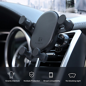 cheap Car Holder-Car Mount Stand Holder Gravity Car Bracket Automatically Locks The Air Outlet Mobile Phone Bracket 360  Rotating Mobile Phone Navigation Bracket Induction For 4.7-6.5 Inch Smart Phone Bracket