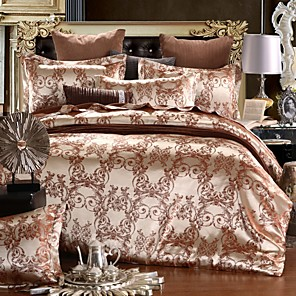 cheap Duvet Cover Sets-Duvet Cover Sets European Satin Luxury Gold & Brown/ Floral Pattern/ Jacquard Lace 4 Piece Bedding Set
