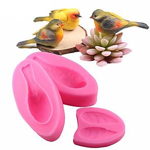cheap Bakeware-3pcs Set 3D Bird Fondant Silicone Mold Cake Sugarcraft Cake Decorating Tools Bakeware