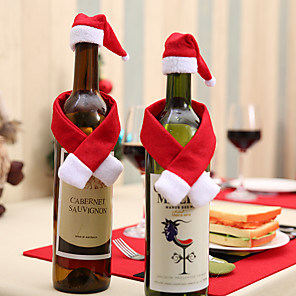 cheap Christmas Decorations-2pcs/set Scarf Hat Creative Christmas Home Decoration For Wine Bottle New Year Eve Xmas Party Home Dinner Table Decors