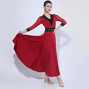 cheap Party Hats-Ballroom Dance Dress Lace Ruching Split Joint Women's Training 3/4 Length Sleeve Spandex