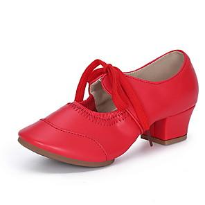 cheap Latin Shoes-Women's Dance Shoes Modern Shoes Ballroom Shoes Sneaker Thick Heel Black / Red / Fuchsia / Performance