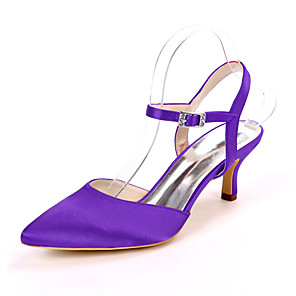 cheap Women's Sandals-Women's Wedding Shoes Stiletto Heel Pointed Toe Satin Minimalism Fall / Spring & Summer Black / White / Purple / Party & Evening