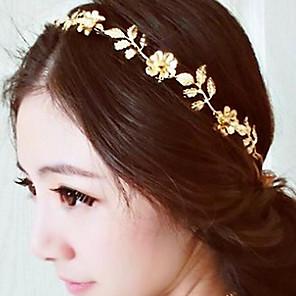זול תכשיטים לשיער-בגדי ריקוד נשים רצועות ראש תכשיט לשיער עבור Party פגישה (דייט) סדרות פרחים פרחוני סגסוגת זהב