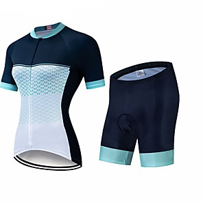 cheap Cycling Jersey & Shorts / Pants Sets-CAWANFLY Women's Short Sleeve Cycling Jersey with Shorts Black / White Geometic Bike Clothing Suit 3D Pad Quick Dry Winter Sports Spandex Lycra Geometic Mountain Bike MTB Road Bike Cycling Clothing