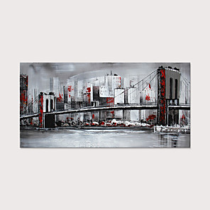 cheap Framed Arts-Oil Painting Hand Painted - Abstract Landscape Modern Rolled Canvas