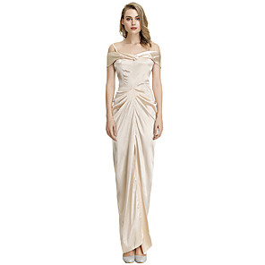 cheap Historical & Vintage Costumes-Diva Retro Vintage Disco 1980s Dress Women's Costume Champagne Vintage Cosplay Party Long Length