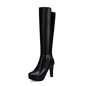 cheap Women's Boots-Women's Boots Knee High Boots Chunky Heel Round Toe PU Knee High Boots Casual / British Fall & Winter Black / Brown / Almond