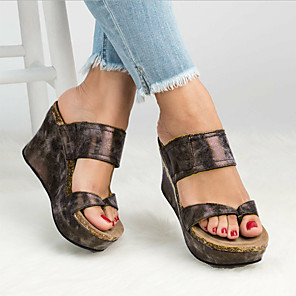 cheap Women's Sandals-Women's Sandals Wedge Sandals Spring &  Fall / Spring & Summer Wedge Heel Open Toe Casual Minimalism Daily Office & Career Solid Colored PU Black / Brown / Gray