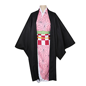 cheap Anime Costumes-Inspired by Demon Slayer: Kimetsu no Yaiba Cosplay Anime Cosplay Costumes Japanese Cosplay Suits Coat Headwear Sash / Ribbon For Women's