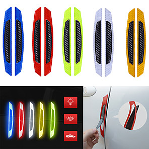 cheap Car Body Decoration & Protection-4pcs/set Car Door Bumper Reflective Sticker Carbon Fiber Stickers Anti-collision Reflective Strip Warning Car Styling Auto