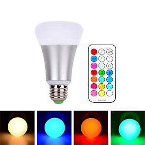 cheap LED Smart Bulbs-1pcs E27 10W RGBW LED Bulb Dimmable Ball Light LED Desk Lamp Downlight Droplight Lighting with 21 Key Remote Controller