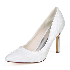 cheap Wedding Shoes-Women's Wedding Shoes Stiletto Heel Pointed Toe Lace Minimalism Fall / Spring & Summer White / Ivory / Light Purple / Party & Evening