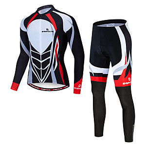 cheap Cycling Jersey & Shorts / Pants Sets-EVERVOLVE Men's Long Sleeve Cycling Jersey with Tights Black / White Bike Clothing Suit Breathable Quick Dry Winter Sports Fleece Lycra Mountain Bike MTB Road Bike Cycling Clothing Apparel / Advanced