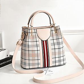 cheap Handbag & Totes-Women's PU Top Handle Bag Lattice Black / Brown / Red