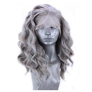 cheap Synthetic Trendy Wigs-Synthetic Lace Front Wig Wavy Side Part Lace Front Wig Short Grey Synthetic Hair 12-16 inch Women's Adjustable Heat Resistant Party Gray