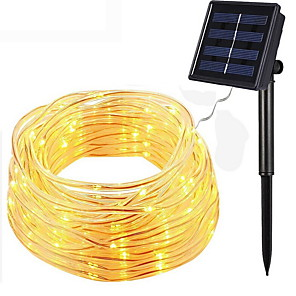 cheap LED String Lights-12m String Lights Outdoor String Lights 100 LEDs 1 set Warm White Solar Decorative Solar Powered