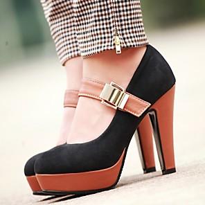 cheap Women's Heels-Women's Heels Chunky Heel Round Toe PU Spring Black / Green / Blue / Daily