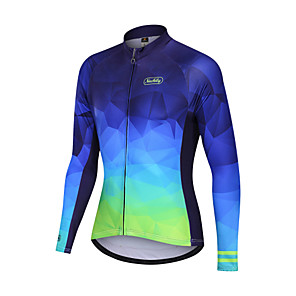 cheap Cycling Jerseys-Nuckily Men's Cycling Jersey Bike Motorcyle Clothing Winter Fleece Jersey Warm Sports Gradient Fleece Elastane Winter Blue Mountain Bike MTB Clothing Apparel Regular Fit Bike Wear / Micro-elastic
