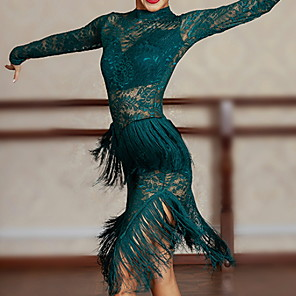 cheap Latin Dancewear-Latin Dance Dress Tassel Women's Performance Tulle