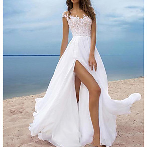 cheap Smartwatch Bands-A-Line Wedding Dresses Off Shoulder Sweep / Brush Train Chiffon Cap Sleeve with Lace Insert Split Front 2020