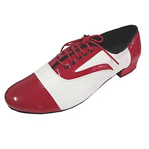 cheap Swing Shoes-Men's Modern Shoes / Ballroom Shoes PU Lace-up Heel Thick Heel Dance Shoes Bronze / Red