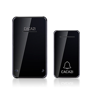 cheap Doorbell Systems-CACAZI Self-powered Waterproof Wireless Doorbell No Battery LED Light 200M Home Cordless Bell Smart Two Tow Home Doorbell Digital Adjustable Music Remote Pager One To One Security Doorbell