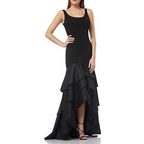 cheap Evening Dresses-Mermaid / Trumpet Sexy Black Party Wear Formal Evening Dress Scoop Neck Sleeveless Asymmetrical Taffeta Jersey with Ruffles Tier 2020
