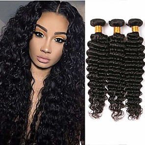 cheap Human Hair Weaves-3 Bundles Brazilian Hair Deep Wave Human Hair 150 g Natural Color Hair Weaves / Hair Bulk 8-28 inch Human Hair Weaves Human Hair Extensions / 8A
