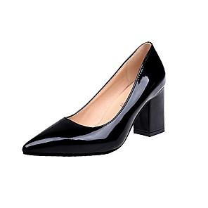 cheap Women's Heels-Women's Heels Summer Chunky Heel Pointed Toe Daily Rubber / PU Red / Burgundy / Pink