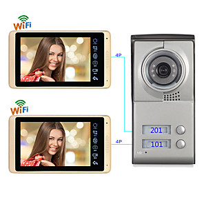 cheap Video Door Phone Systems-Wired & Wireless 7 Inch Hands-free Door Bell 1024*600 Pixel Wall Mounted  Remote Control  One to One Video Doorphone Support IOS / Android / Mutiple People Log In