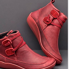cheap Women's Boots-Women's Boots Comfort Shoes Flat Heel Round Toe PU Booties / Ankle Boots Fall & Winter Brown / Red / Blue