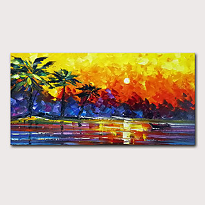 cheap Bathroom Sink Faucets-Oil Painting Hand Painted - Landscape Abstract Landscape Modern Stretched Canvas