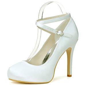 cheap Wedding Shoes-Women's Wedding Shoes Stiletto Heel Round Toe Satin Minimalism Fall / Spring & Summer Black / White / Purple / Party & Evening