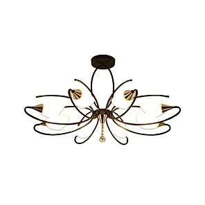 cheap Pendant Lights-8-Light Antique Chandeliers 8 Lights Semi Flush Chandelier Ambient Light Painted Finishes Metal Glass Ceiling Lighting for Bedroom / Living Room / Dining Room