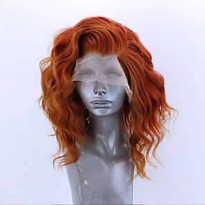 cheap Synthetic Lace Wigs-Synthetic Lace Front Wig Wavy Side Part Lace Front Wig Short Orange Synthetic Hair 12-16 inch Women's Adjustable Heat Resistant Party Brown